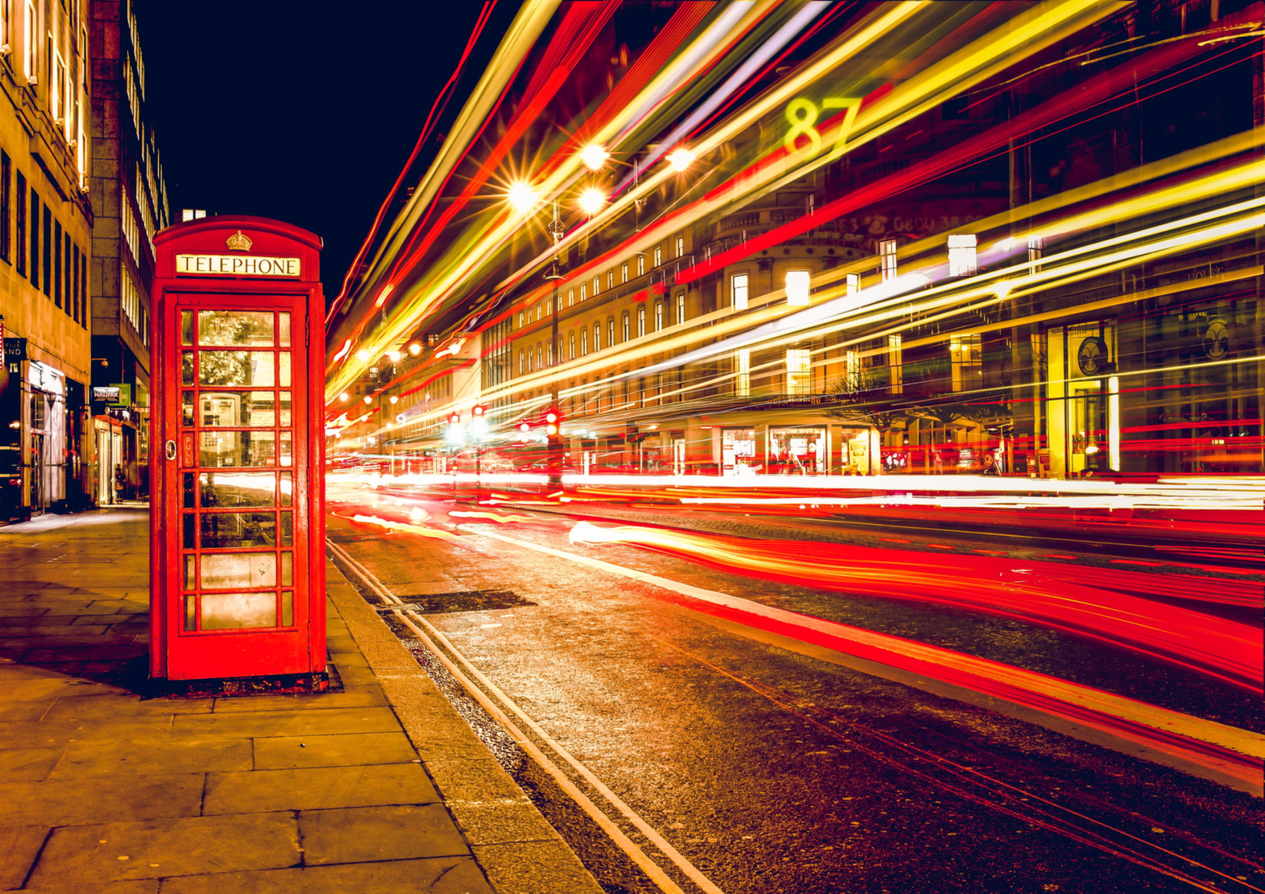Red Phone Box and fast lights